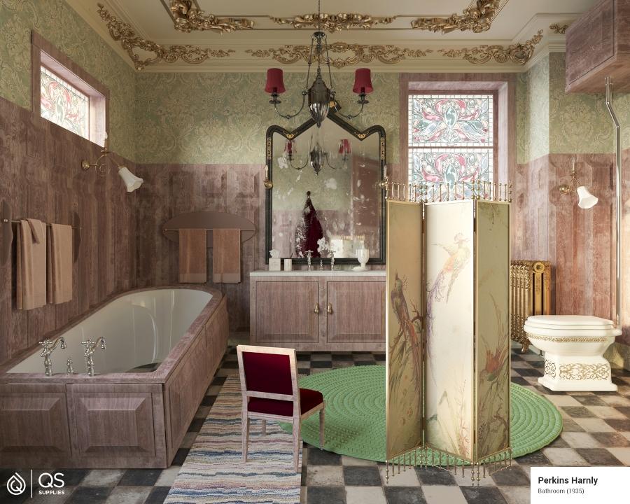 Baño en pintura de Perkins Harnly recreado