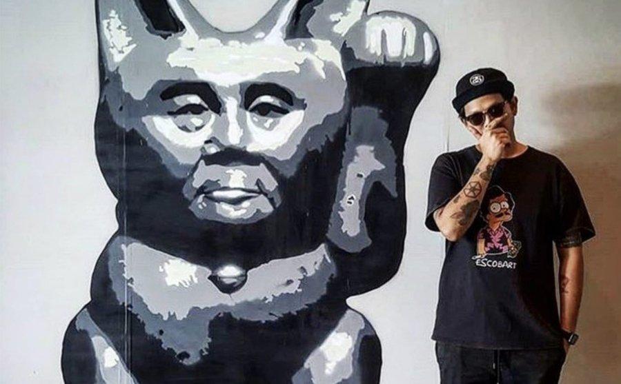 Stencil por el artista tailandés