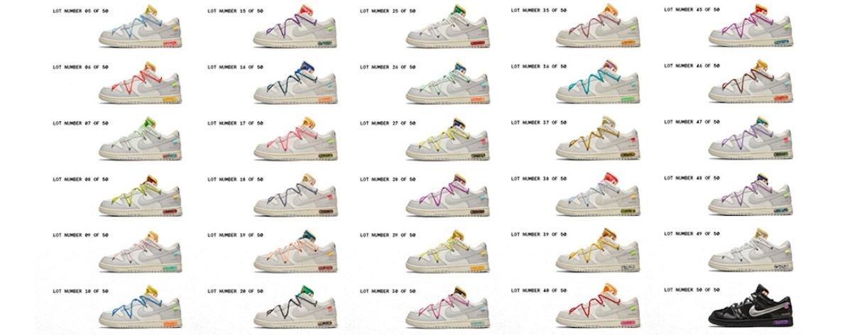 Off-White presenta sus 50 colorway reunidos en diapositivas