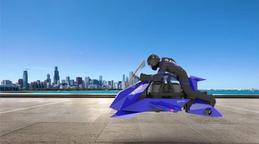 Aspecto de la primer moto voladora de Jetpack Aviation