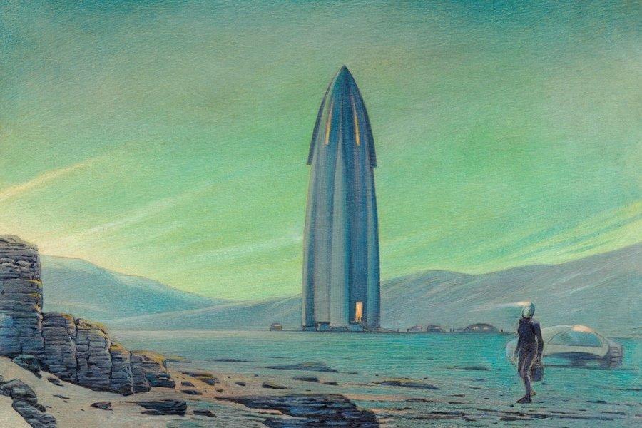 """Ilustración """"Travel Book on Mars"""""""