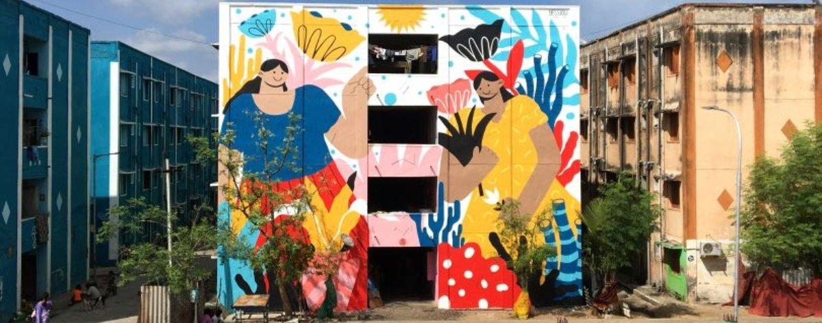 Yessiow presentó una belleza de mural en la India